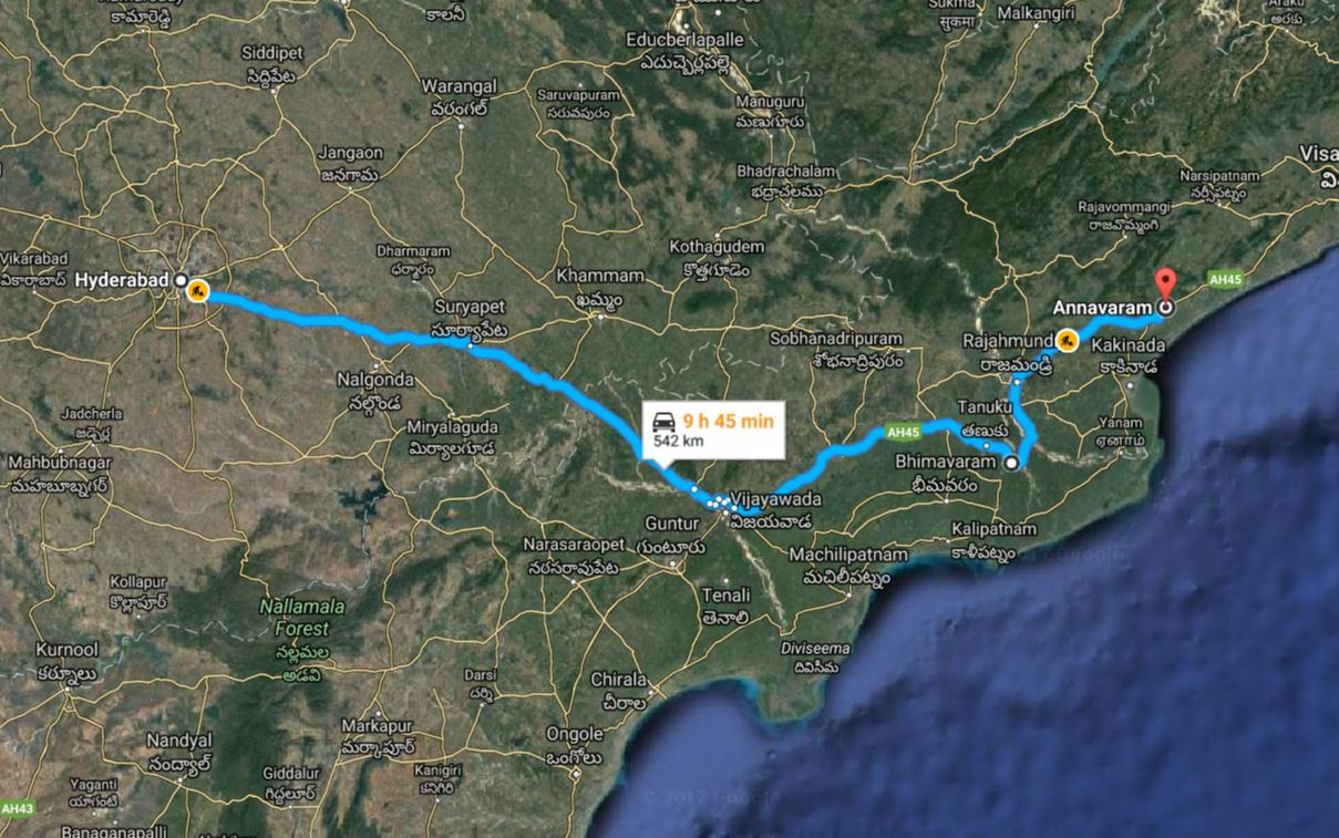 hyd to annavaram route map
